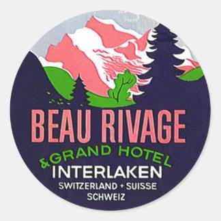 Alpes vintages d'Interlaken Suisse d'autocollants Sticker Rond
