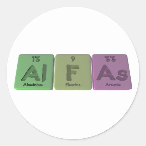 Alpha-Al-f-comme-aluminium-fluor-Arsenic Autocollants Ronds