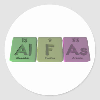 Alpha-Al-f-comme-aluminium-fluor-Arsenic Sticker Rond