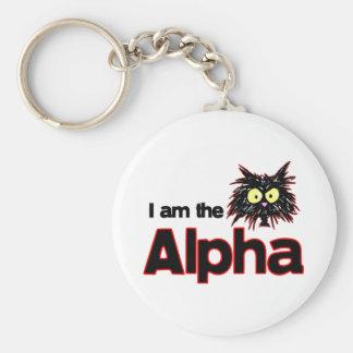 Alpha chat porte-clé rond