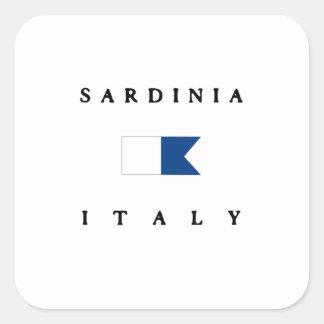 Alpha drapeau de piqué de la Sardaigne Italie Sticker Carré