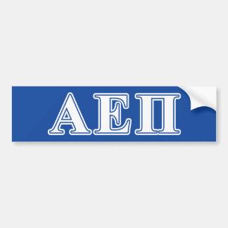 Alpha epsilon lettres blanches et bleues de pi autocollant de voiture