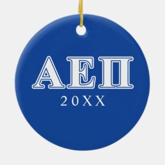 Alpha epsilon lettres blanches et bleues de pi ornement rond en céramique