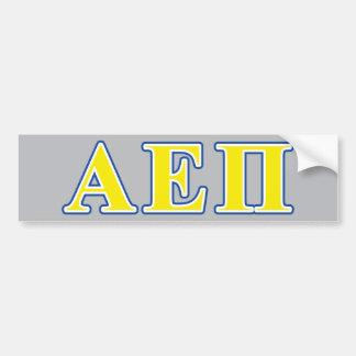Alpha epsilon lettres bleues et jaunes de pi autocollant pour voiture