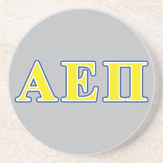 Alpha epsilon lettres bleues et jaunes de pi dessous de verre