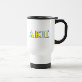 Alpha epsilon lettres bleues et jaunes de pi mug de voyage