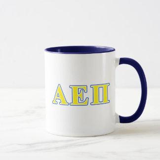 Alpha epsilon lettres bleues et jaunes de pi mugs