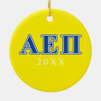 Alpha lettres de bleu de l'epsilon pi ornement rond en céramique