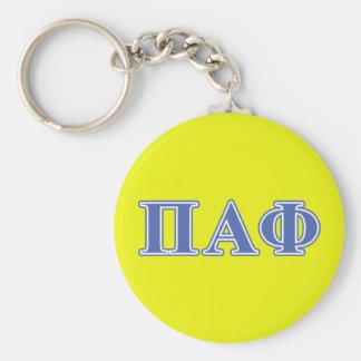 Alpha lettres de bleu de phi de pi porte-clé rond