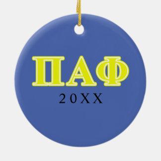 Alpha lettres de jaune de phi de pi ornement rond en céramique
