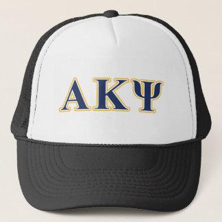 Alpha lettres de jaune et de marine de livre par casquette
