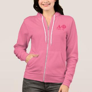 Alpha lettres de rose de phi veste à capuche