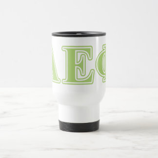 Alpha lettres epsilon de vert de phi mug de voyage