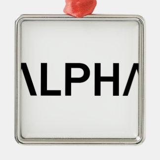 Alpha (NOIR) Ornement Carré Argenté