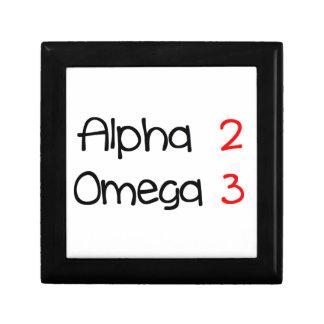 alpha omega petite boîte à bijoux carrée