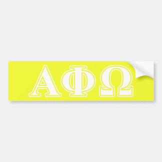 Alpha phi lettres blanches et jaunes d'Omega Autocollant Pour Voiture