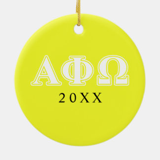 Alpha phi lettres blanches et jaunes d'Omega Ornement Rond En Céramique