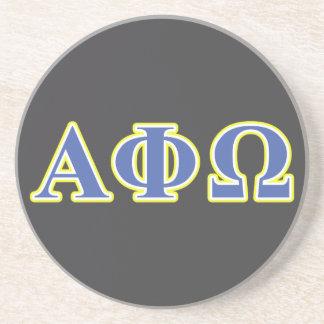 Alpha phi lettres jaunes et bleues d'Omega Dessous De Verre