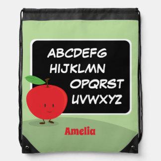 Alphabet Apple avec le sac à dos de cordon du nom