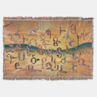 Alphabet arménien d'oiseaux couvre pied de lit
