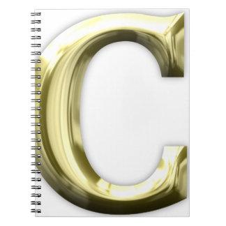 Alphabet brillant d'or d'or de la lettre C Carnet À Spirale