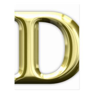 Alphabet brillant d'or d'or de la lettre D Carte Postale