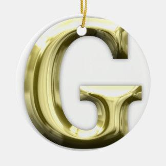 Alphabet brillant d'or d'or de la lettre G Ornement Rond En Céramique