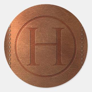 alphabet cuir lettre H Sticker Rond
