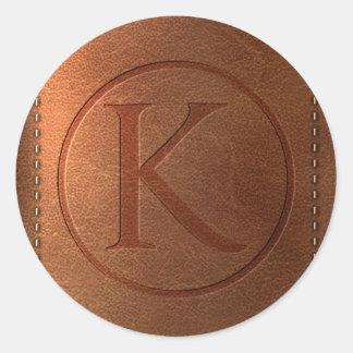 alphabet cuir lettre K Sticker Rond