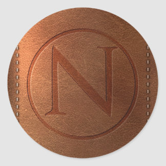 alphabet cuir lettre N Sticker Rond