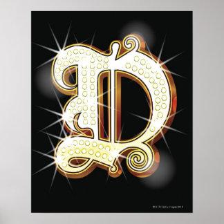 Alphabet D de Bling Posters