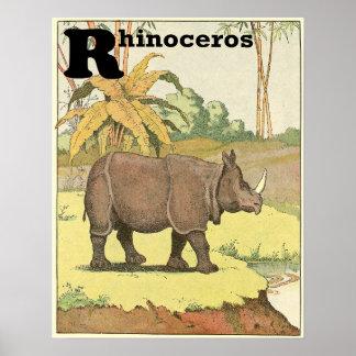 Alphabet de livre de contes de rhinocéros posters