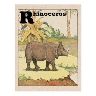 Alphabet de livre d'histoire de rhinocéros carte postale
