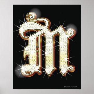 Alphabet M de Bling Posters