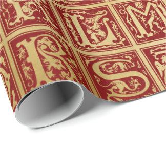 Alphabet médiéval 1 - papier d'emballage papier cadeau noël