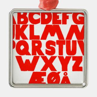 Alphabet norvégien ornement carré argenté