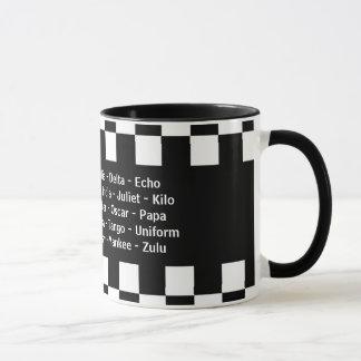 Alphabet phonétique d'alpha de bravo écho de mug