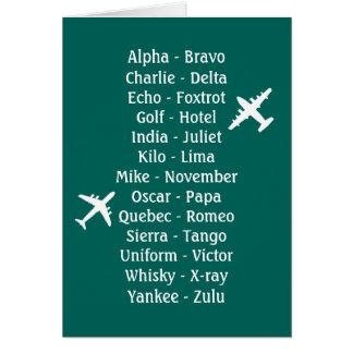Alphabet phonétique pilote d'avion d'aviation de carte de vœux