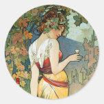 Alphonse (Alfons) Mucha : Cognac - art Nouveau Autocollants