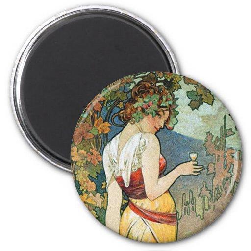 Alphonse (Alfons) Mucha : Cognac - art Nouveau Magnets