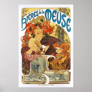 Alphonse (Alfons) Mucha :  La de Bieres De la Meus Poster