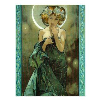 Alphonse Mucha Clair De Lune Postcard Carte Postale
