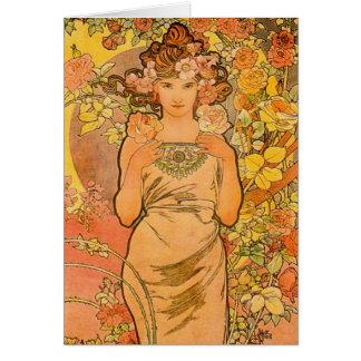 Alphonse Mucha la carte de note de rose