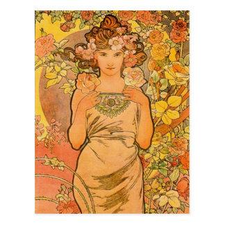 Alphonse Mucha la carte postale de rose