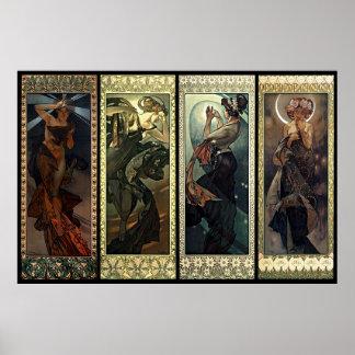 Alphonse Mucha la lune et les étoiles Posters