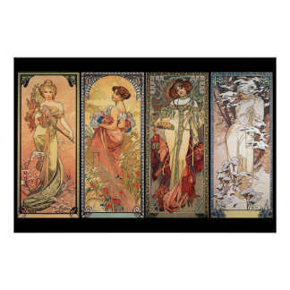 Alphonse Mucha quatre saisons Posters