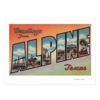 Alpin, lettre ScenesAlpine, TX de TexasLarge Carte Postale