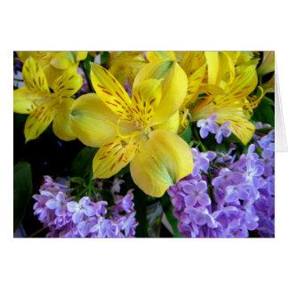 Alstremeria et carte de lilas