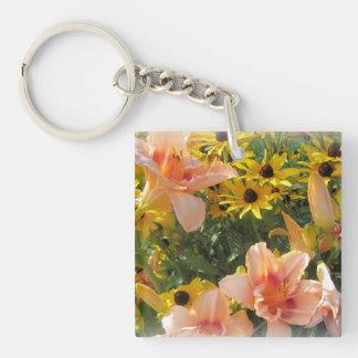 Amant de fleur de jardin de lis porte-clés