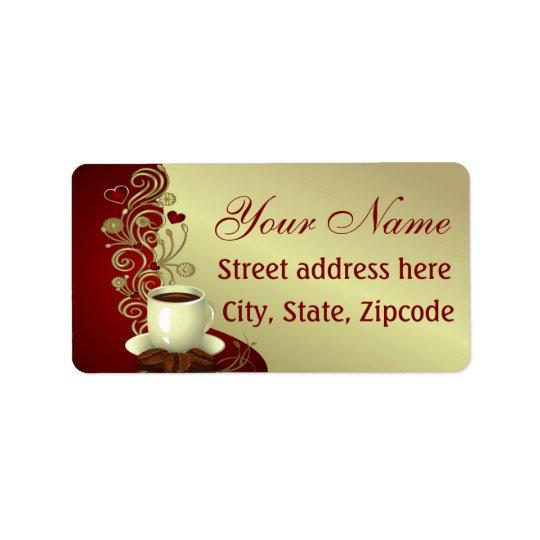 Amant moderne de café étiquette d'adresse